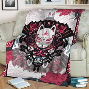 Naruto Kitsune Mask 3D Throw Blanket