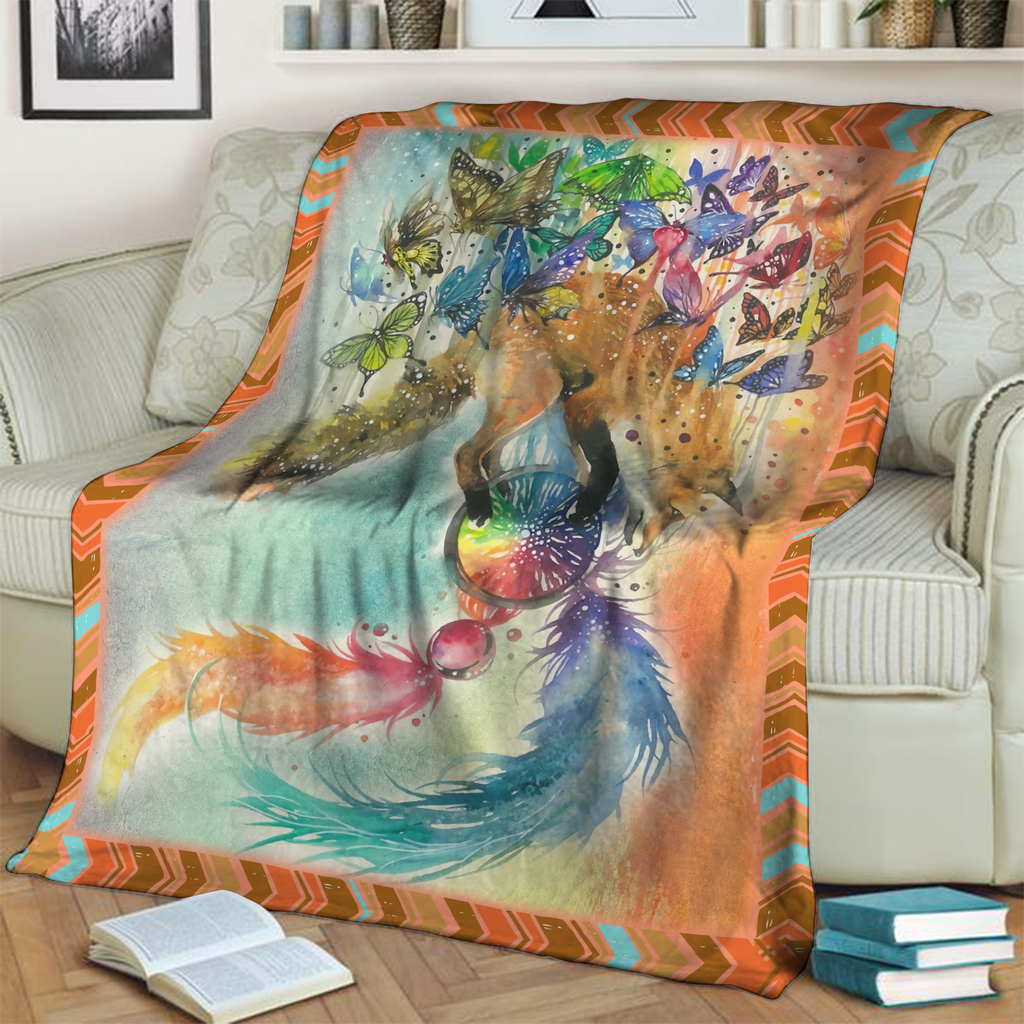 Beautiful Fox and Butterflies 3D Throw Blanket