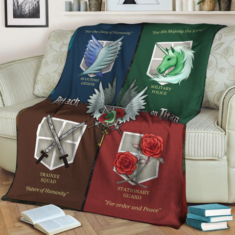 Attack On Titan - Scout Regimen, Military Police, Stationary Guard and Trainee Squad 3D Throw Blanket