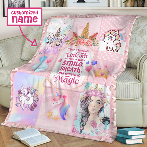 Image of Dear Lisa, Be A Unicorn In A Field Of Horses. Smile, Breath And Believe In Magic 3D Throw Blanket