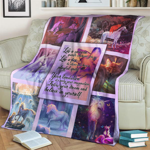 Fox And Unicorn Inspirational Quotes 3D Throw Blanket