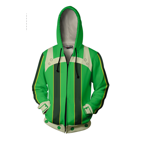 Image of Boku No Hero Academia Tsuyu Asui Cosplay Zip Up Hoodie Jacket
