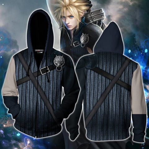 Image of Final Fantasy VII Cloud Strife Cosplay Zip Up Hoodie Jacket