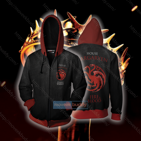 2bac4a6cc5d Image of Daenerys Targaryen Game Of Thrones Fire And Blood Zip Up Hoodie ...