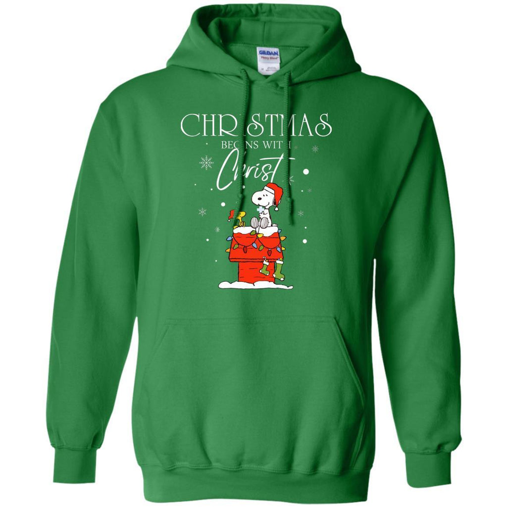 Christmas Begins With Christ ShirtG185 Gildan Pullover Hoodie 8 oz.