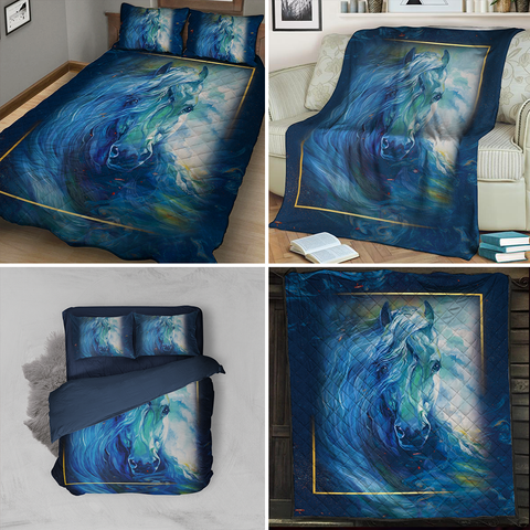 Aesthetic Blue Wave Horse 3D Throw Blanket