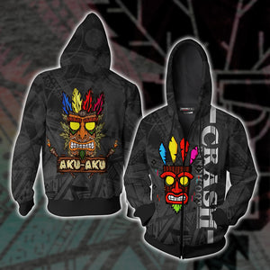 Crash Bandicoot - Aku Aku Unisex Zip Up Hoodie Jacket