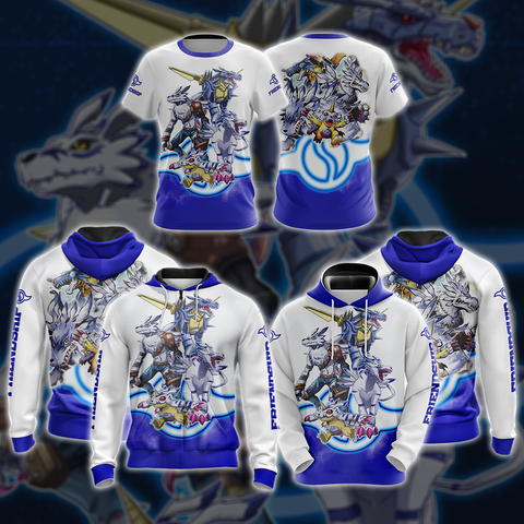 Image of Digimon Gabumon Evaluation Unisex 3D Pullover Hoodie