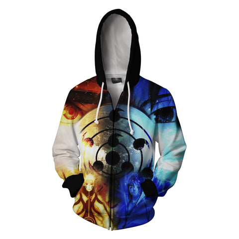Image of Naruto and Sasuke Zip Up Hoodie