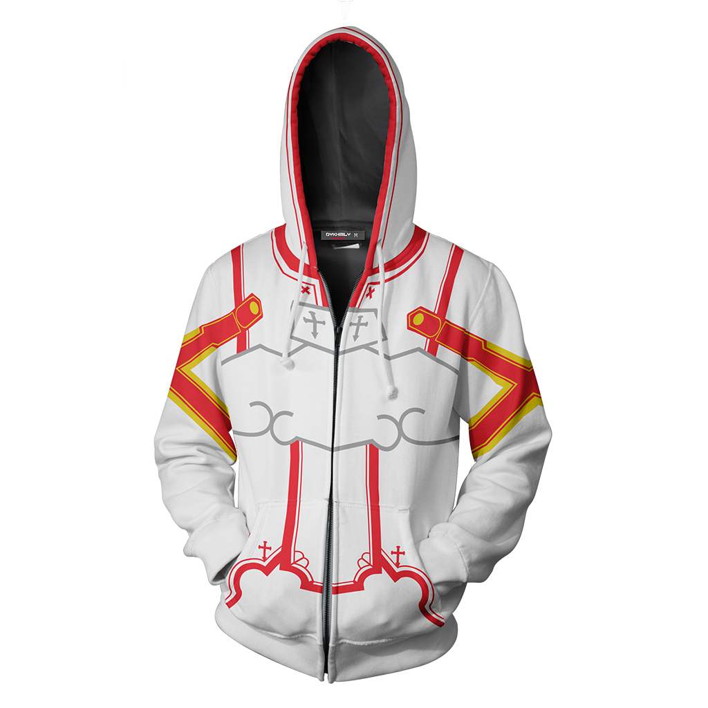 Sword Art Online Asuna Cosplay Zip Up Hoodie Jacket