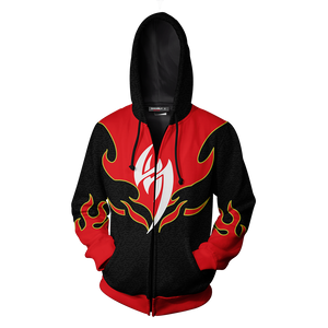 Tekken Jin Kazama Red Flame Cosplay Zip Up Hoodie Jacket
