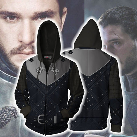Image of Game Of Thrones Jon Snow (Season 7) Cosplay Zip Up Hoodie Jacket