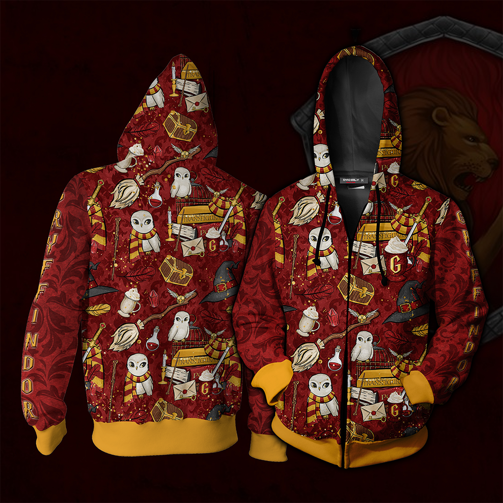 Hogwarts Gryffindor House Pattern Harry Potter Zip Up Hoodie