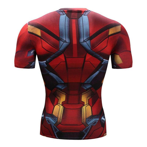 Image of Iron Man Mark XLVI Cosplay Short Sleeve Compression T-shirt
