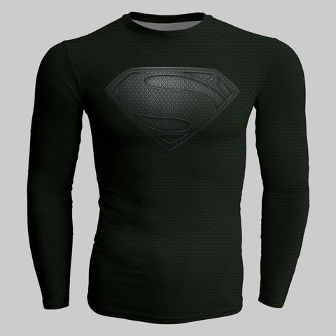 Image of Justice League Henry Cavill Black Superman Cosplay Long Sleeve Compression T-shirt