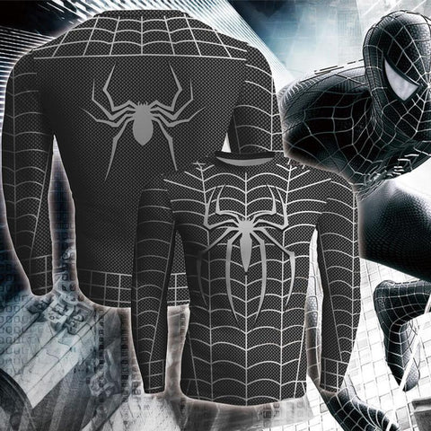 Image of Black Spiderman Cosplay Long Sleeve Compression T-shirt