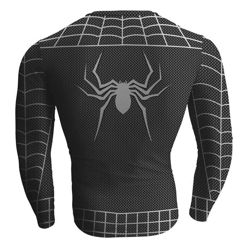 Black Spiderman Cosplay Long Sleeve Compression T-shirt