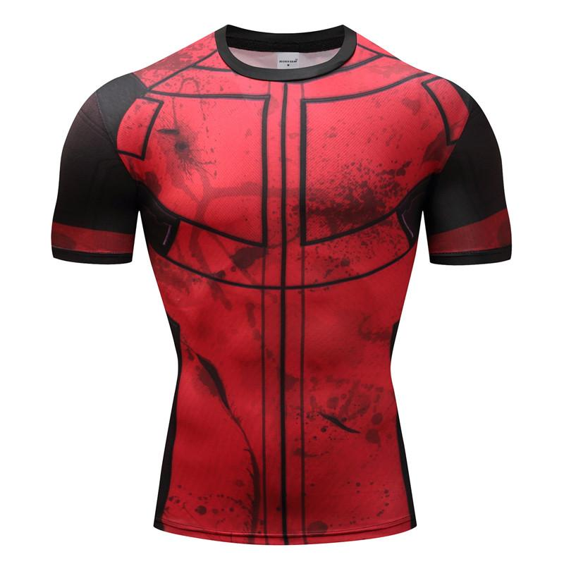 Deadpool Cosplay Short Sleeve Compression T-shirt