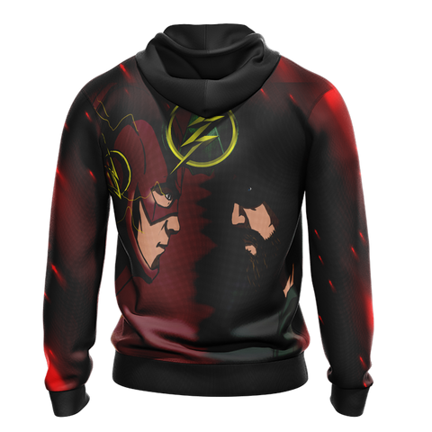 Image of Arrow and Flash New Unisex Zip Up Hoodie