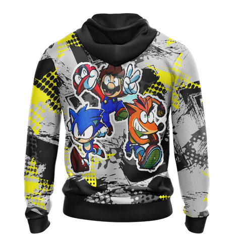 Crash Bandicoot x Mario x Sonic The Hedgehog Unisex Zip Up Hoodie