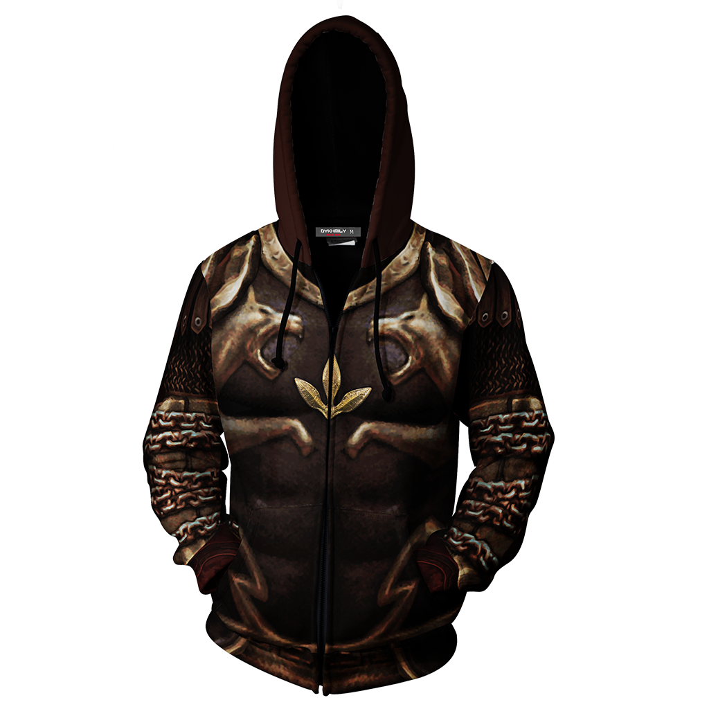 God Of War 2 Kratos Armor Cosplay Zip Up Hoodie Jacket