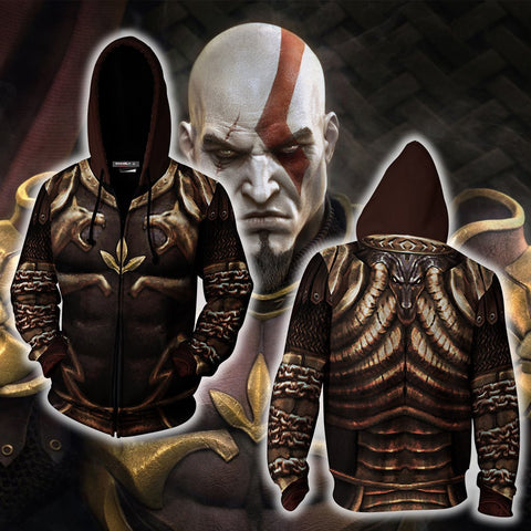 Image of God Of War 2 Kratos Armor Cosplay Zip Up Hoodie Jacket
