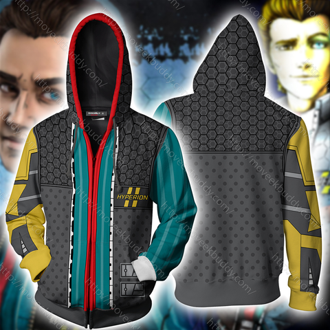 Borderlands Rhys Cosplay Zip Up Hoodie Jacket
