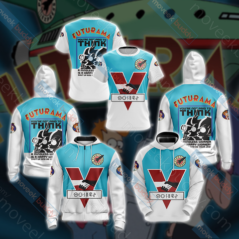 Image of Futurama New Unisex Zip Up Hoodie Jacket
