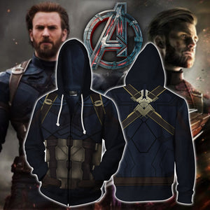 Captain America Cosplay Zip Up Hoodie Jacket