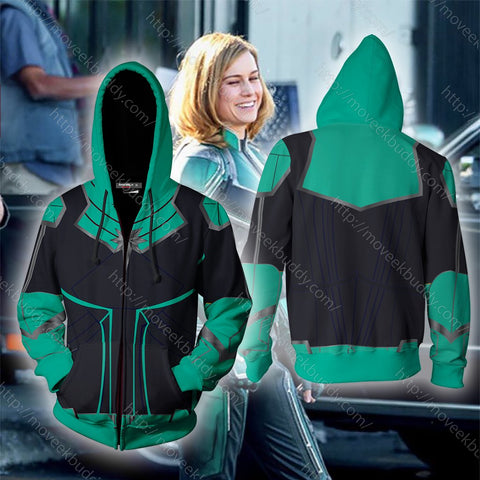 Image of Captain Marvel 2019 Cosplay Zip Up Hoodie Jacket