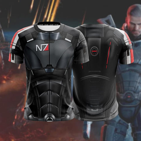 Image of Mass Effect N7 Armor Cosplay Unisex 3D T-shirt