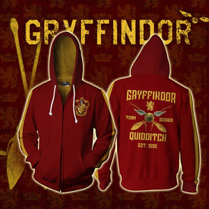 Gryffindor Quidditch Team Harry Potter Zip Up Hoodie