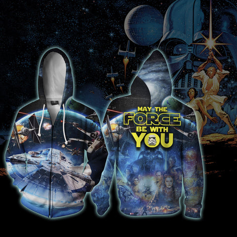 Image of Star Wars May The Force Be With You Zip Up Hoodie