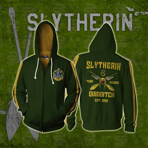 Image of Slytherin Quidditch Team Harry Potter Zip Up Hoodie