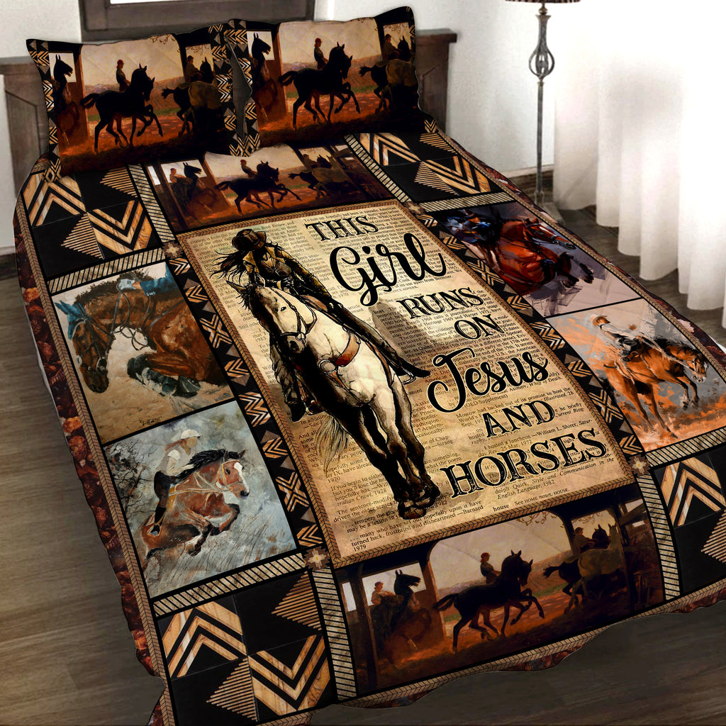 This Girl Runs On Jesus And Horse 3D Quilt Bed Set