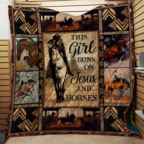 Image of This Girl Runs On Jesus And Horse 3D Quilt Bed Set
