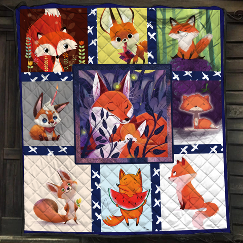 Image of Cute Fox Complication Quilt Bed Set