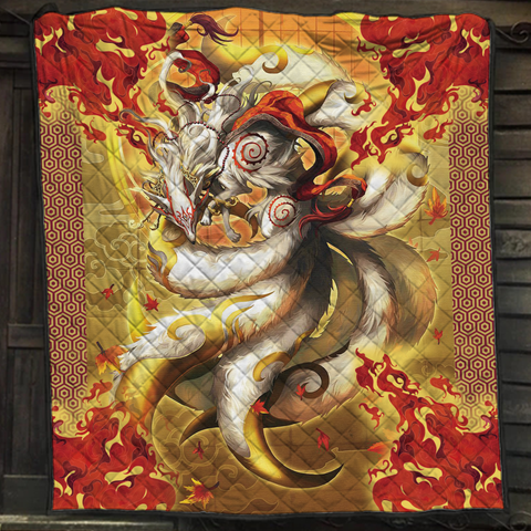 Image of Nine Tail Okami Fox Quilt Bed Set