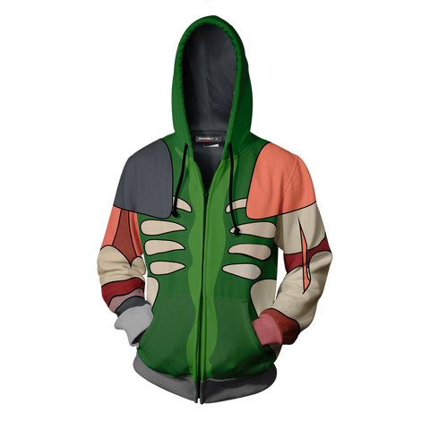 Image of Rick And Morty Pickle Rick Cosplay Zip Up Hoodie Jacket