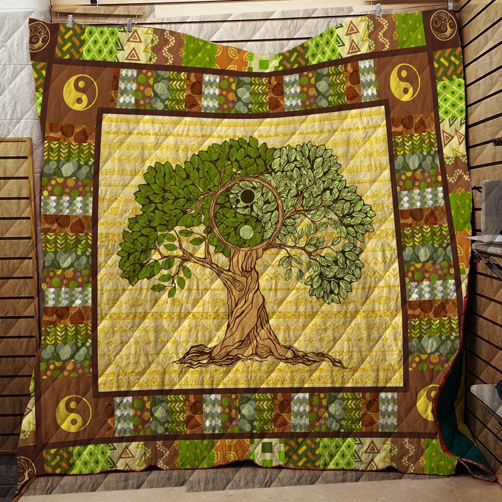 The Mountain Yin Yang Tree 3D Quilt Blanket