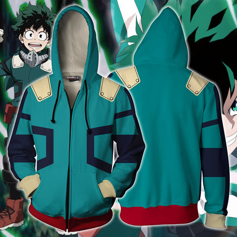 Boku No Hero Academia Izuku Midoriya Cosplay Zip Up Hoodie Jacket
