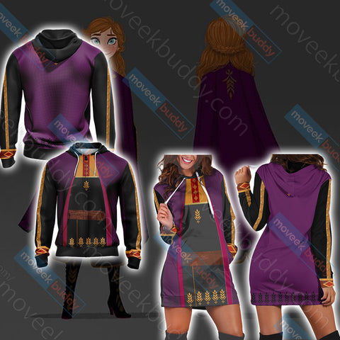 Image of Frozen 2 - Anna Cosplay Version 2 3D Hoodie Dress