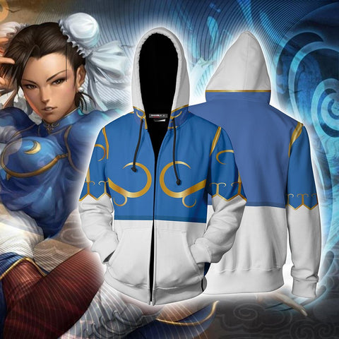 Image of Street Fighter Chun-Li Cosplay Zip Up Hoodie Jacket