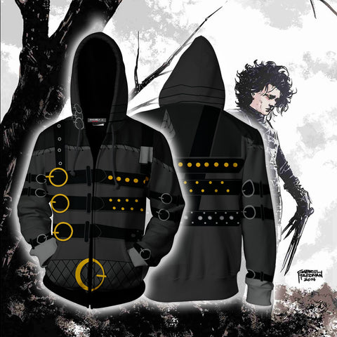 Image of Edward Scissorhands Cosplay Zip Up Hoodie Jacket