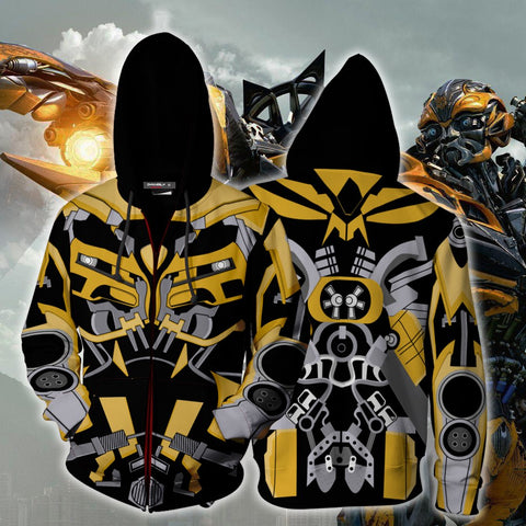 Image of Bumblebee Cosplay Zip Up Hoodie Jacket