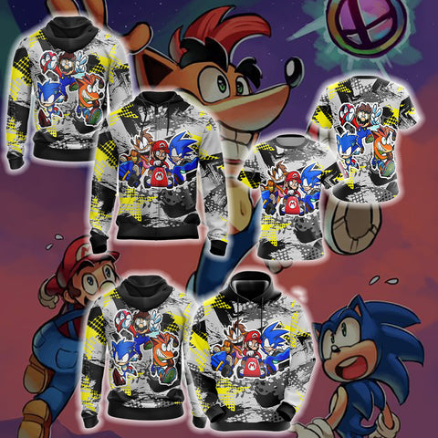 Image of Crash Bandicoot x Mario x Sonic The Hedgehog Unisex 3D T-shirt