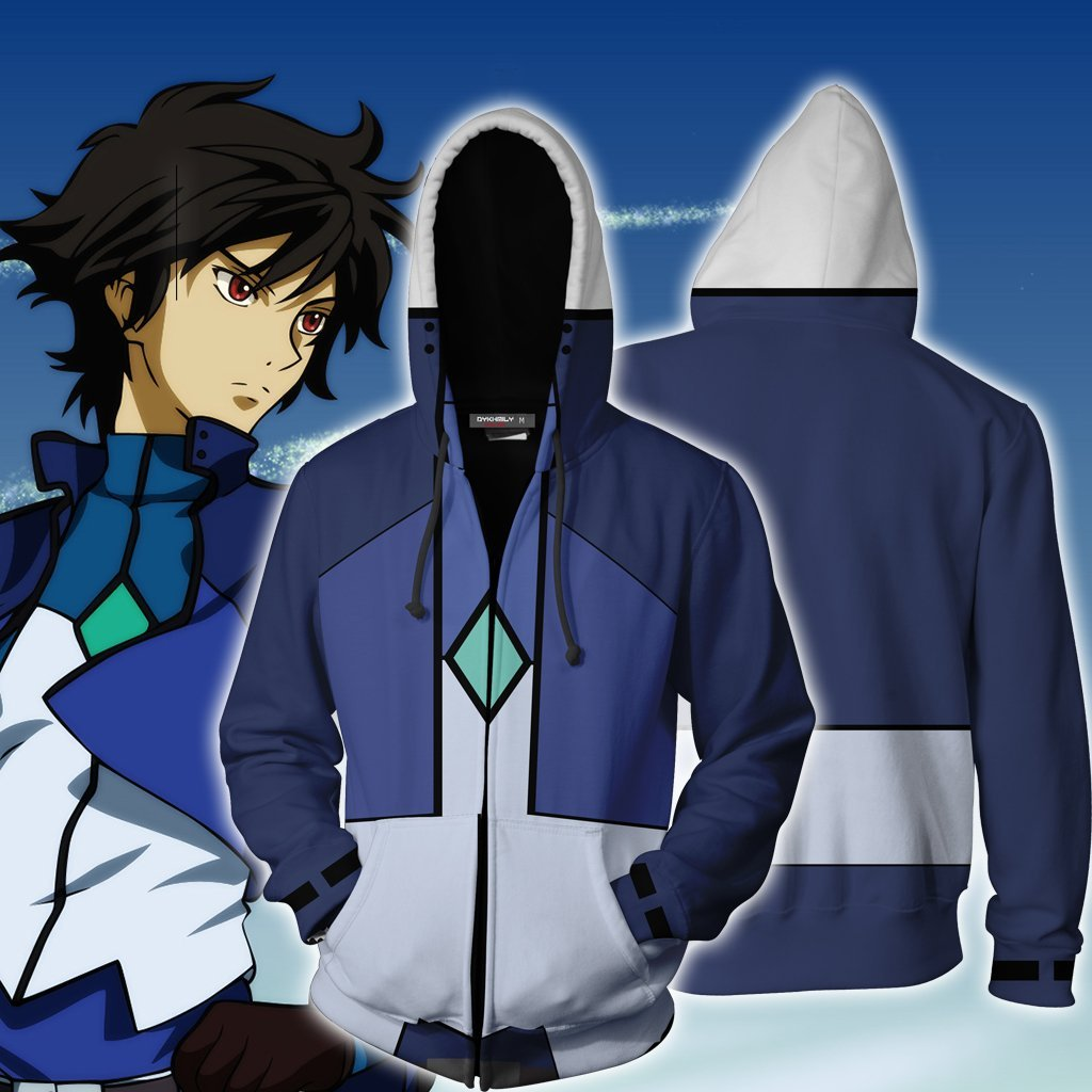 Setsuna F. Seiei Cosplay Mobile Suit Gundam 00 Zip Up Hoodie Jacket