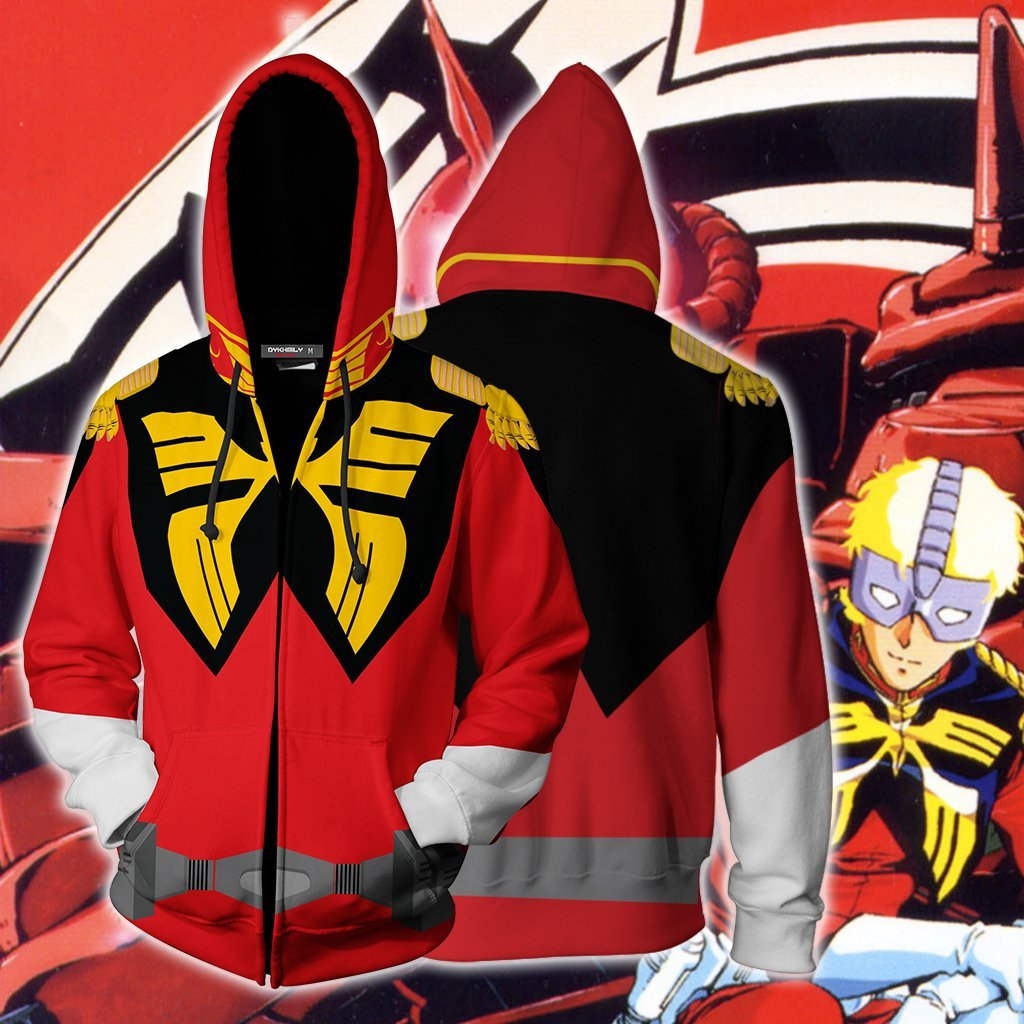 Anime Char Aznable Suit Gundam Fan Zip Up Hoodie