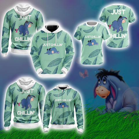 Image of Eeyore Just Chillin Style Unisex 3D Hoodie