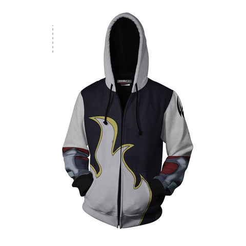 Image of Tekken Jin Kazama White Flame Cosplay Zip Up Hoodie Jacket